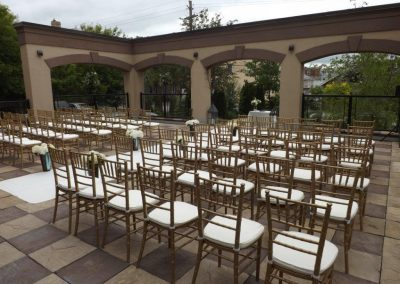 Patio setup for ceremony